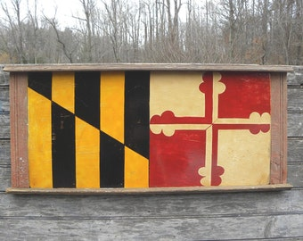 Maryland Flag  Sign  , hand painted, original ZD M 4
