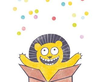 Geburtstagskarte Löwe & Konfetti, Klappkarte mit Umschlag