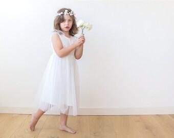 Flower girl tulle dress, Ivory tulle dress, Fairy ivory girls dress 5024