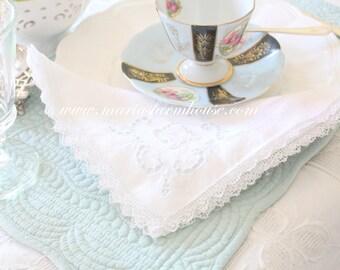 Vintage, Lace Edge, Corner Design, Cotton Napkin, Tea Party, Table Linen