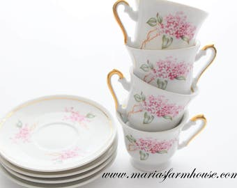 Vintage Porcelain Demitasse or Espresso Cups and Saucers, Set of 4 by Crown Fena, Little Princess Birthday Tea Party