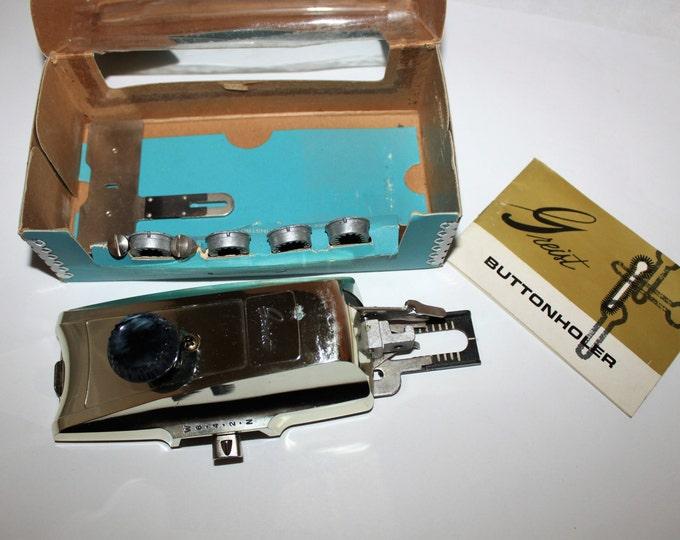 Vintage Mid Century Modern 1960s Greist Buttonholer Style #1, Automatic Buttonhole Attachment