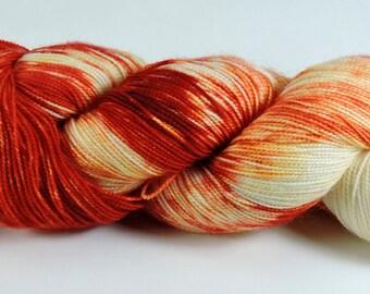 Wool Hand Dyed Superwash Sock Red Orange Yellow Vivid 2351