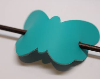 Simple and Unique: Teal Leather Butterfly Hair Barrette with stick. Women's Hair Accessory Made in USA!
