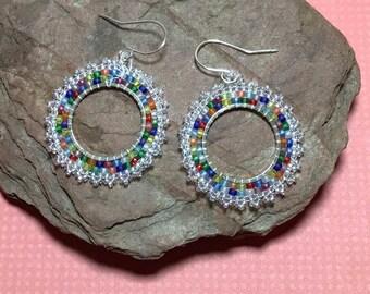 Beaded Hoop Earrings Multi Color Earrings Colorful Earrings Circle Bead Earrings Rainbow Earrings Beadwork Earrings Seed Bead Earrings