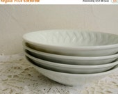 On Sale Set of 4 Vintage PORCELAIN BOWLS, 4 White Dishes with Raised Pattern on the Border, Stamped: Royal Limoges France, Diameter 14.5cm o