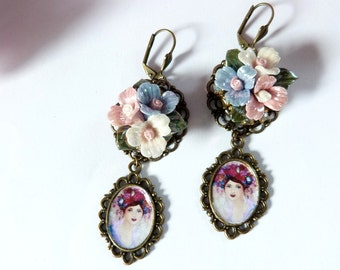 Earrings romantic retro, portrait in medallion,pastel porcelaine flower