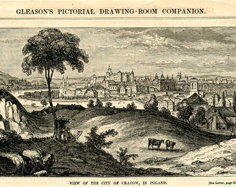 Cracow: 1854, Antique Wood Engraving, Lovely View of Cracow, Poland, Great Condition
