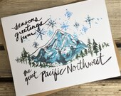 6 Holiday Greeting Cards / Northwest Holiday Card / Mt. Hood Greetings