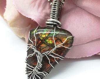 Ammolite pendant, Tree of life pendant, Sterling silver ammolite, Handcrafted tree of life