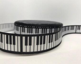 """7/8"""" Piano Music Grosgrain Ribbon"""