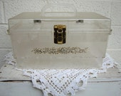 Reserved for Adornlafemme: Vtg LUCITE SEWING BOX with Gold Embossed Design- Removable Shelf, Unique Sewing & Storage Container