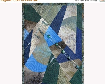 Close out sale Fiber Art Textile, Mini Quilt Wall Hanging, Eco and Dyed Fabrics