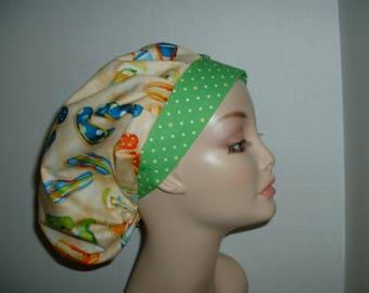 Summer Flip Flops Beach Bouffant OR Surgical scrub hat CRNA
