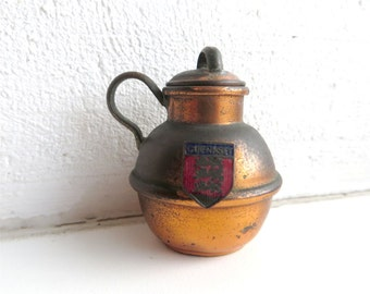 Super Tiny Guernsey Cup Souvenir Copper Cup Vintage 80s  The Flag of Guernsey Channel Islands