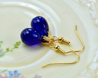Ink Blue Earrings, Blue Drop Earrings, Cobalt Blue Glass Earrings, Deep Blue Jewelry, Blue & Gold Earrings for Women, Dark Blue Earrings