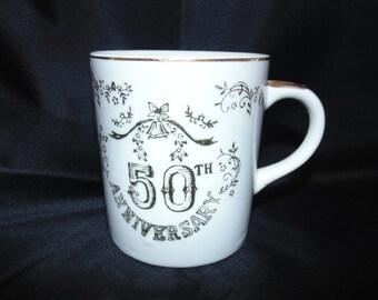 Vintage Lugene's Japan Ceramic 50th Wedding anniversary mug coffee