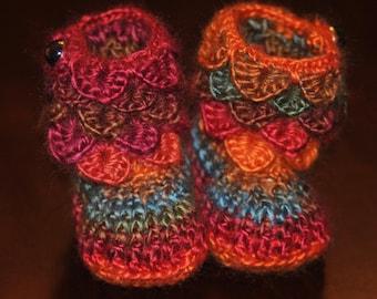 Crochet Baby Booties,  Autumn Colored Booties Little Girl 0-6 Months, Crocodile Stitch Booties, OOAK