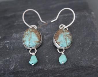 Turquoise Dangle Earrings, Sterling Silver Turquoise Earrings, Boho Turquoise Earrings, Gypsy Earrings