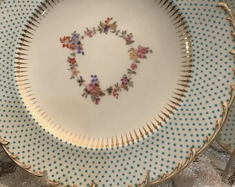 Antique Plates/Minton/4 Dinner Plates/China Dishes/Raised Turquoise Jeweled Enameled Beading/Hand Painted Floral Center/Fancy China