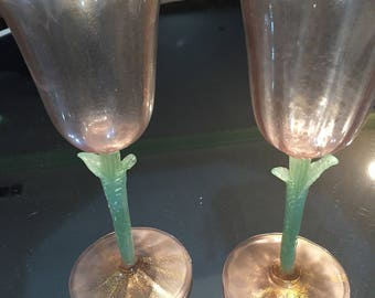 Pair Murano Glass Goblets/Italian/ Venitian/Pink with Green Stemware/Wedding Toast/ Valentine Day/Bridal Shower/Easter/Gift