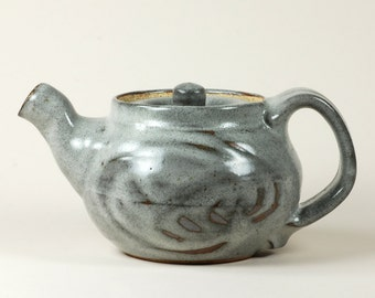 Gray glaze ceramic teapot for two