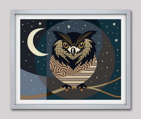 Owl Decor, Owl Poster, Owl Print, Owl Wall Decor, Owl Gifts, Owl Painting,  Owl Wall Hanging, Night Owl, Bird Poster, Christmas Items