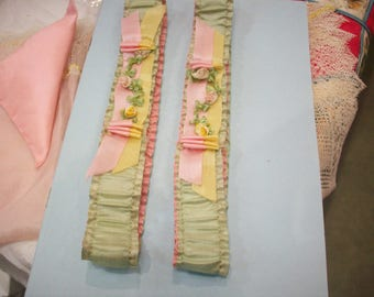 Set of two pastel ribbon work garters silk authentic 1920s
