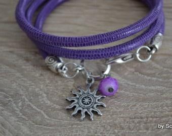 Leather Bracelet with Sun