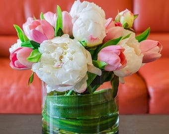 Finest Silk White Peony with Real Touch Pink Tulips in Round Glass Vase Artificial Faux Arrangement for Home Decor