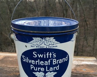 "Vintage Enameled Tin Swift's ""Silverleaf"" Brand Pure Lard"