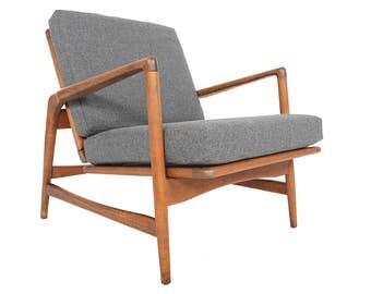 Danish Mid Century Modern Ib Kofod Larsen for Selig Lounge Chair in Oak