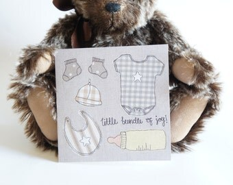 New Baby Card - Blank Baby Greetings Cards - Unisex Baby Card