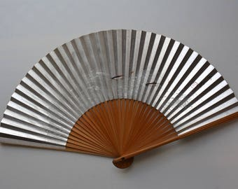 Japanese hand fan, bamboo and paper, vintage Japanese sensu