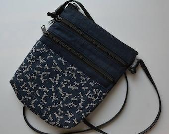 Shoulder bag, small hand made cotton crossbody bag, Japanese cotton fabrics, vinyl strap