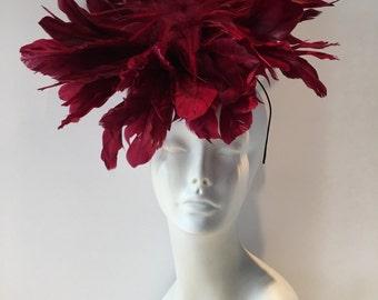 Wine Fascinator - wine Feather Fascinator- handmade in USA- Kentucky Derby-wine Headpiece - Steampunk- Derby- wedding--Ascot.