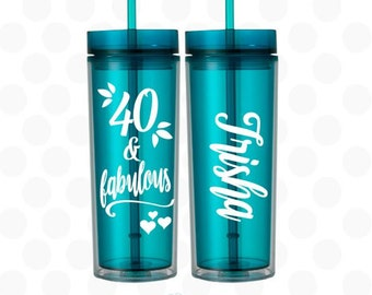 40th birthday for her, 40 and Fabulous tumbler, 40th birthday cups, 40th birthday gift, 40th birthday gift for her, 40th birthday gift