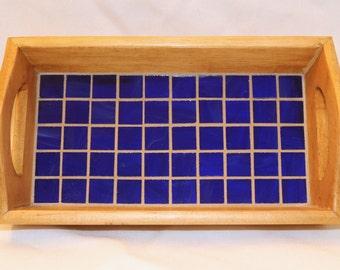 Blue Glass Mosaic Wood Tray