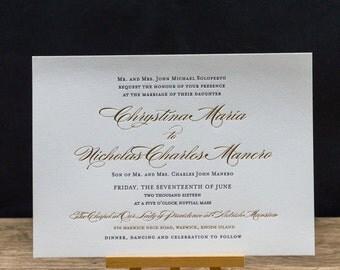 Signature Letterpress Wedding Invitation Suite - DEPOSIT