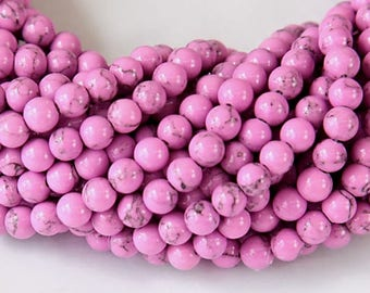 Magnesite Beads, Orchid Pink, 4mm Round - 15 inch Strand - eGR-MG017-4