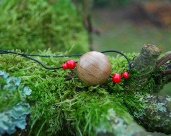 Minimalist Choker Oak Wood Unisex Ball Pendant, Nature Eco Friendly Boho Hippie Amulet, Wood Rustic Pendant, Unisex Wooden Amulet Pendant