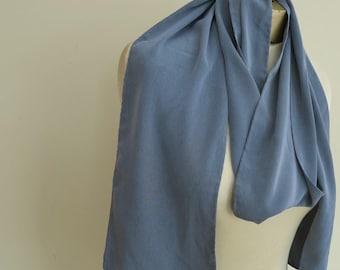 Vintage skinny scarf, 70s long scarf, unisex,  petrol blue scarf, air force blue long scarf, narrow scarf, slate blue, extra long scarf