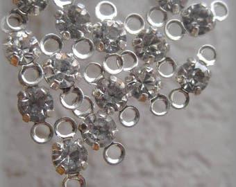 Swarovski Crystal 17SS 4MM Black Diamond Crystal Grey Connector Rhodium Silver 10MM with 2 Rings