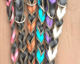 """1"""" Wide Braided Leather Collar"""