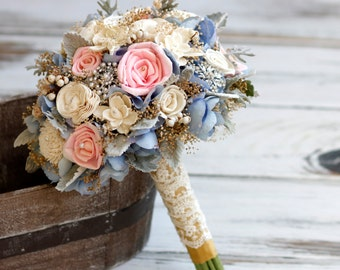 Sola Bouquet. Large sola Bouquet, Vintage inspired,Natural sola flowers,Blue Hydrangeas,Gold baby's breath, pearls, gold ribbon, Lace ribbon