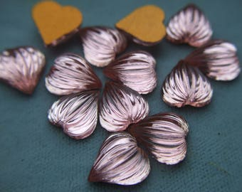 Vintage Glass Cabochons Pink Hearts Rosaline Ridged Hearts x 6