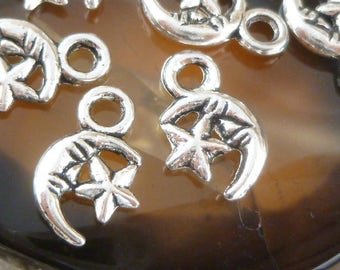 Crescent Moon and Star Design Charms, Antique Silver (20) - S24