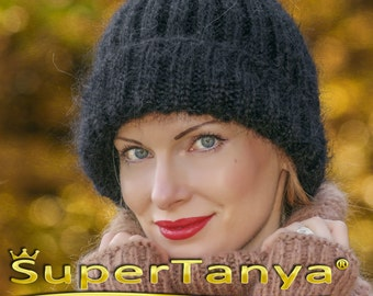 SUPERTANYA black mens mohair beanie warm hand knitted fuzzy hat