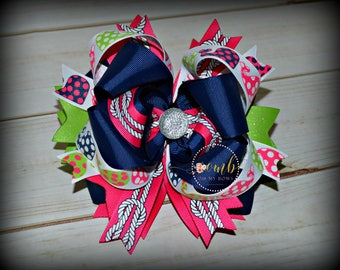 ON SALE / Set Sail Whale Collection Boutique Style Bow / Hair Bow / Hairbow / Bows / Layered Bows / Summer Themed Bows / Sea / Beach
