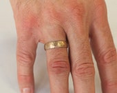"Men's wedding band, 14k yellow gold band, ""Rough and Refined"", size 12 or custom sizes, #645."